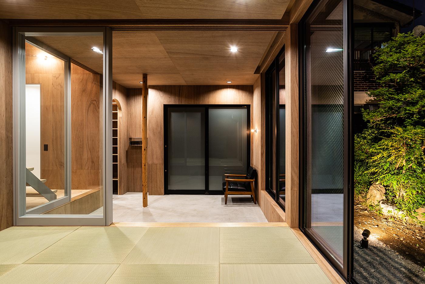 土間空間、ラワン、畳コーナー、和室、デザイン、モダン、大きな窓、設計事務所、建築家、川崎市、神奈川、一級建築士事務所