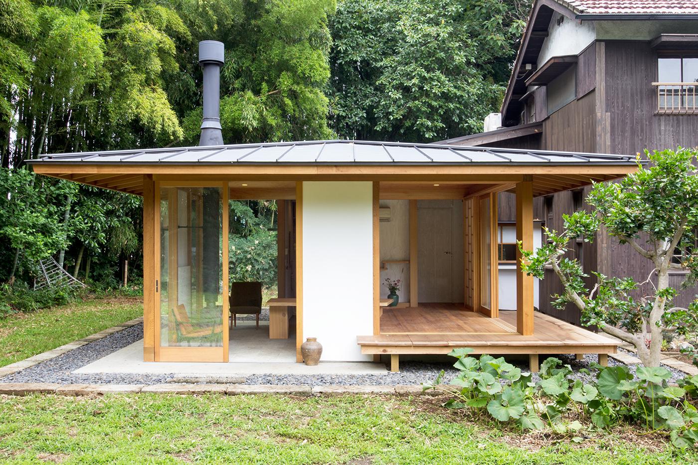 木造、ゲストハウス、薪ストーブ、大谷石、増築、群馬、舘林、一級建築士事務所、建築家、レッドシダー
