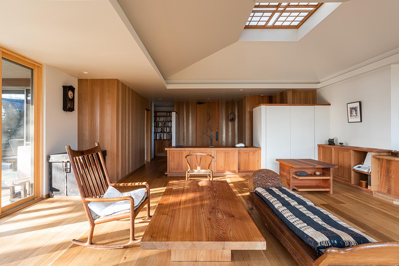 平屋、全館空調、天窓、ウッドデッキ、設計事務所、建築家、大磯、神奈川、海