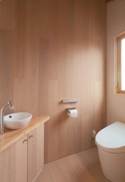 ツーバイフォー、新築、東京、一級建築士事務所、建築家、木製ドア、トイレ、デザイン
