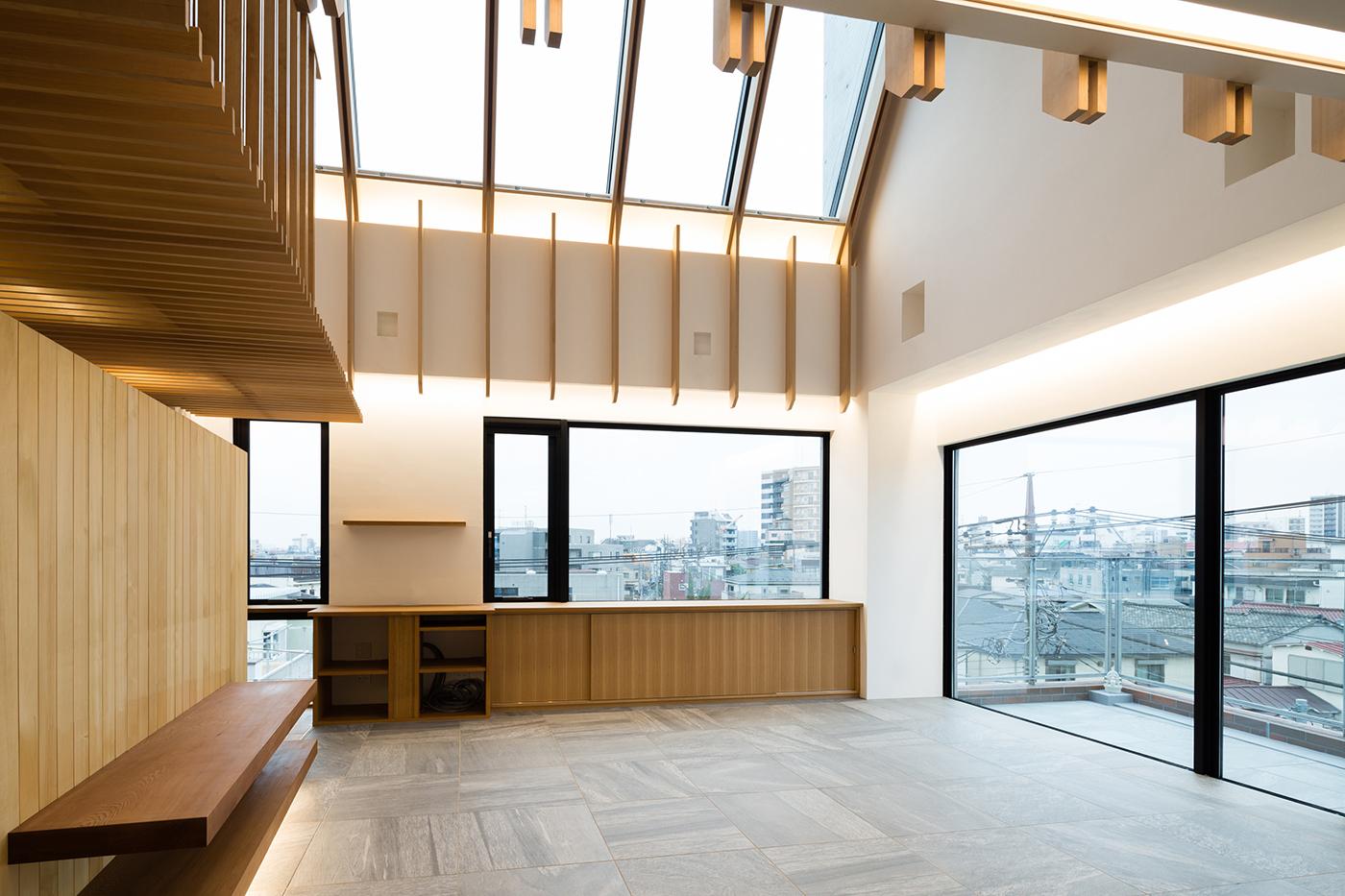東京、品川区、神奈川県、一級建築士事務所、建築家、N&C、打ち放し、広いリビング、天井が高い、木の空間、漆喰壁